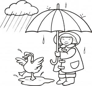 英語ぬりえ_雨降り