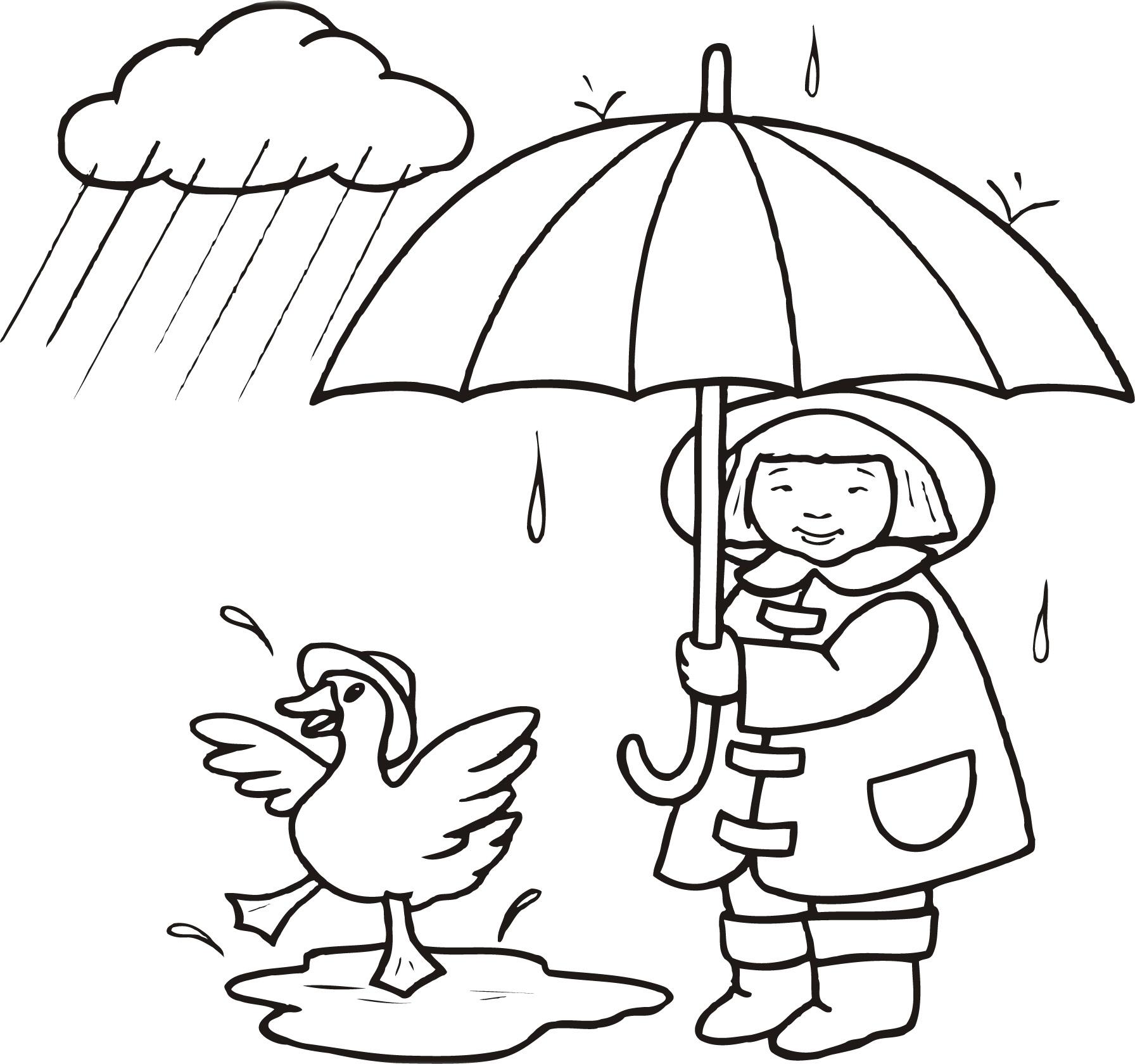 雨ふり英語ぬりえワークシート 子供向英語学習サイトジャシュアの本棚